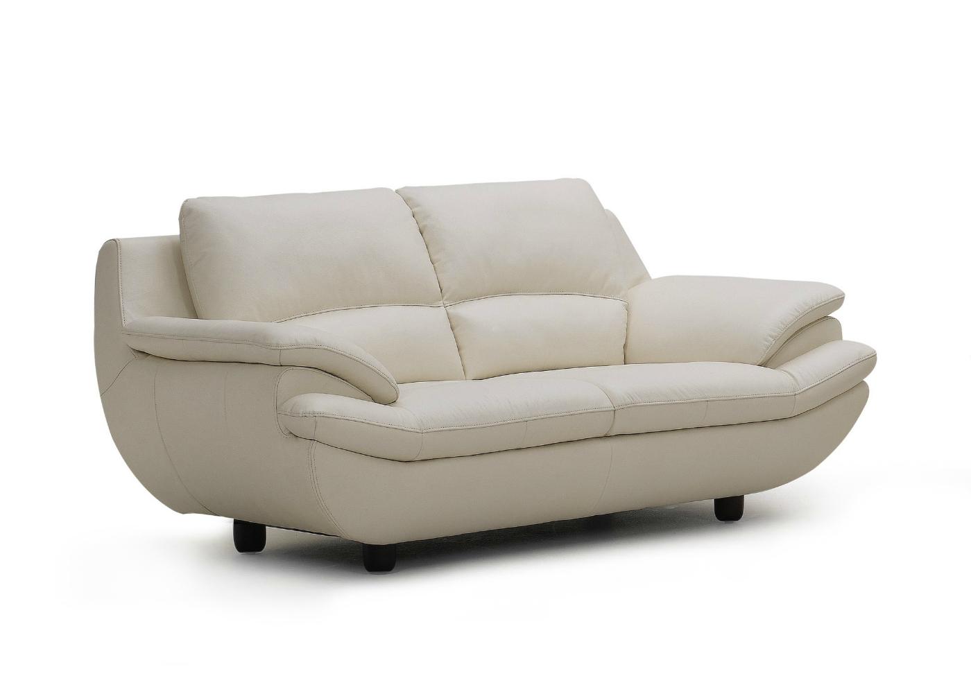 Plush Leather Sofa In Off White 2 1235 2R. Plush Leather Sofa In Off White   Not Just Brown