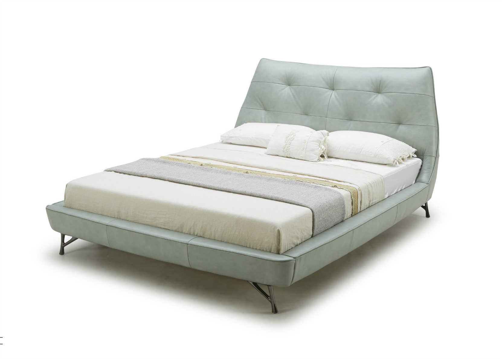 Bed With Light Blue Leather Upholstery Not Just Brown
