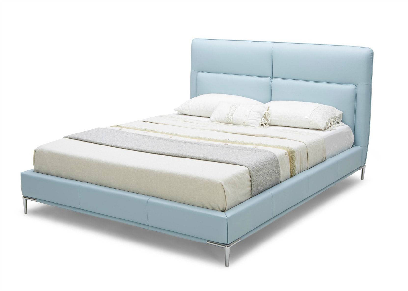Diva Bed In Sky Blue Leather Headboard Not Just Brown