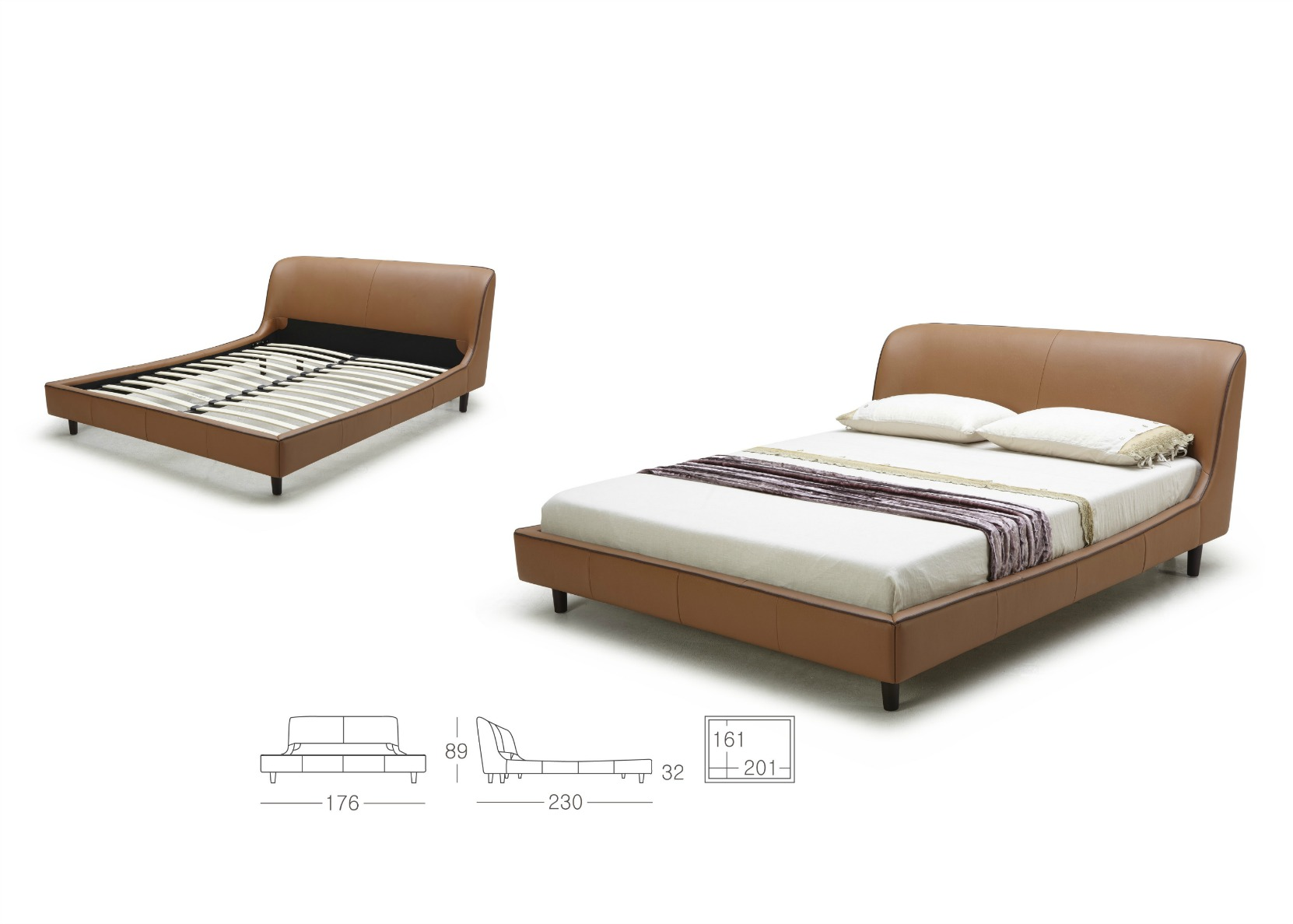 King Size Bed In Tan Leather Upholstery Not Just Brown