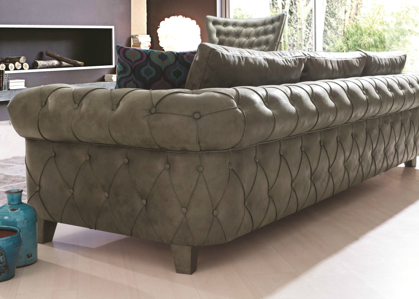 Gold Chesterfield Sofa In Green Art Leather Not Just Brown