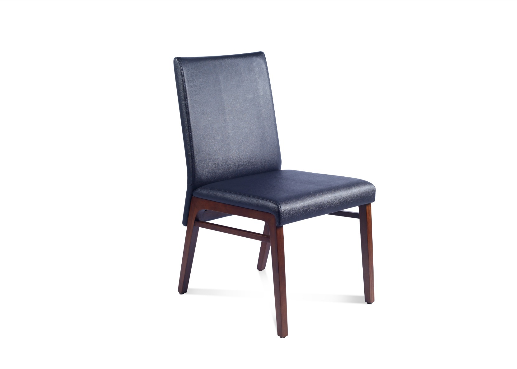 dining chair in black leather walnut not just brown. Black Bedroom Furniture Sets. Home Design Ideas