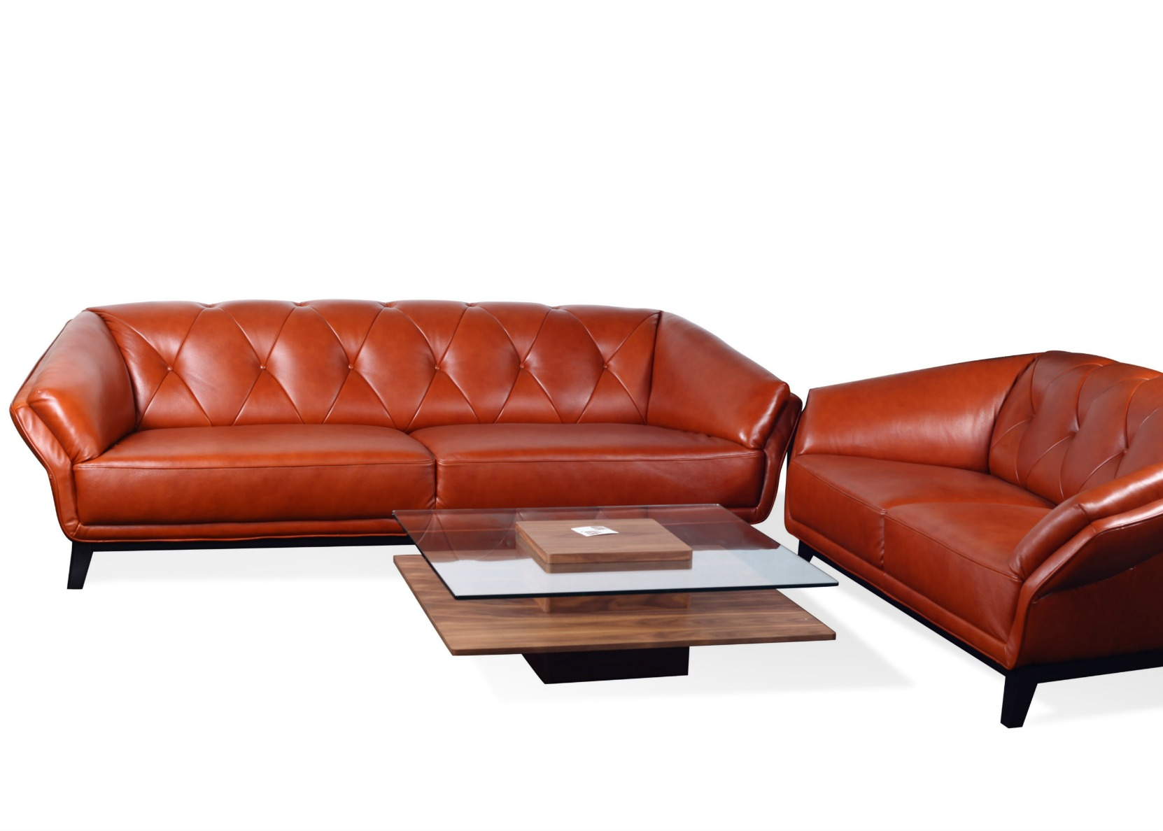 3+2 Sofa Set In Tan Leather U0026 Wood