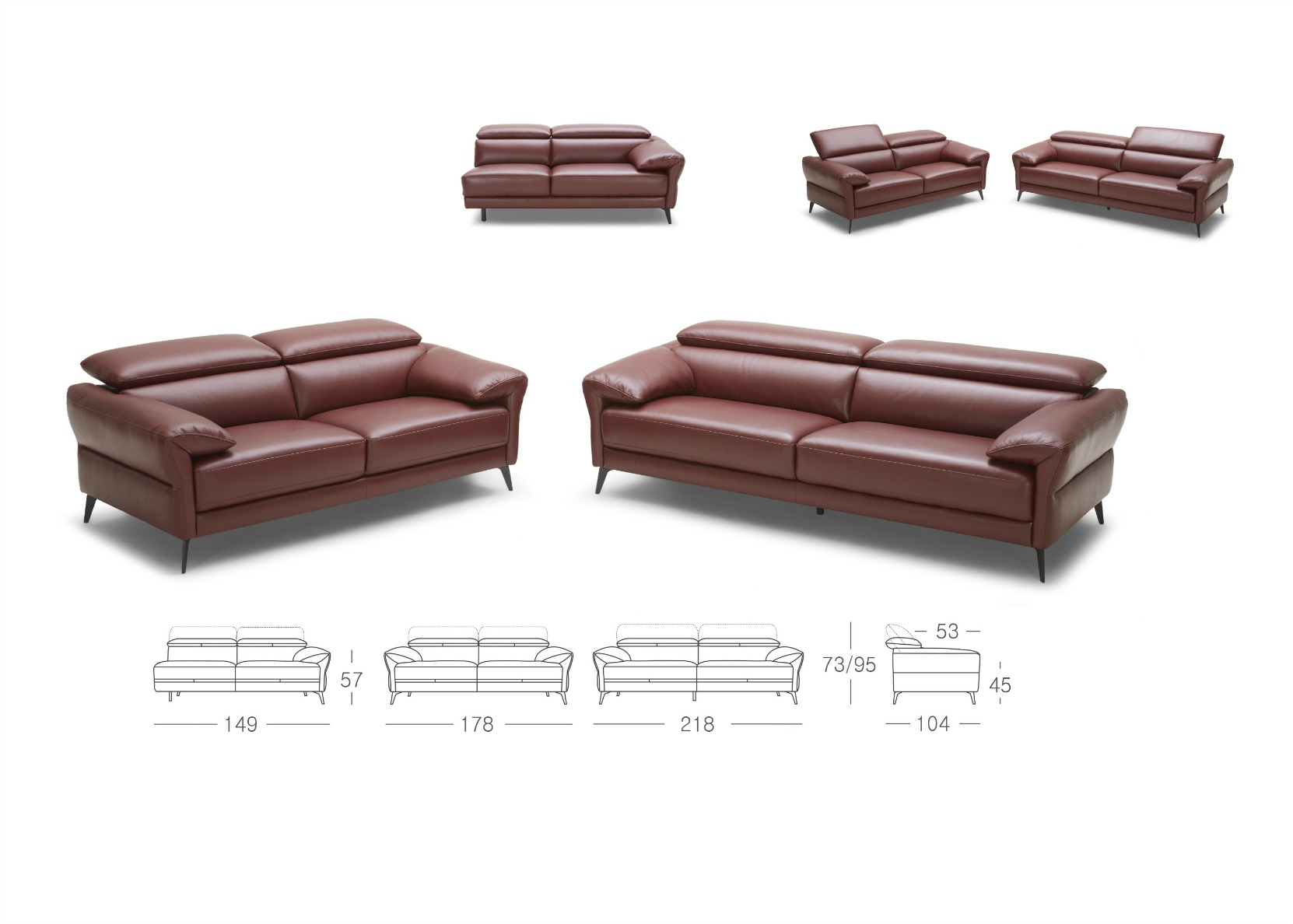 3+2 Set In Luxurious Wine Red Leather - Not Just Brown