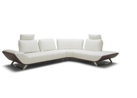 Wedge L Shaped Leather Sofa in White