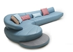 Wave Sofa In Blue Leather & Dark Oak