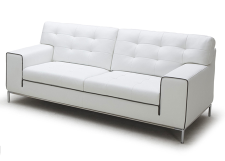 Cube Sofa In White Leather