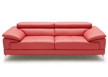 Sleek And Stylish Sofa In Red Leather