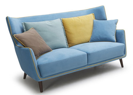 Tall Boy Retro Sofa In Acqua Blue Color