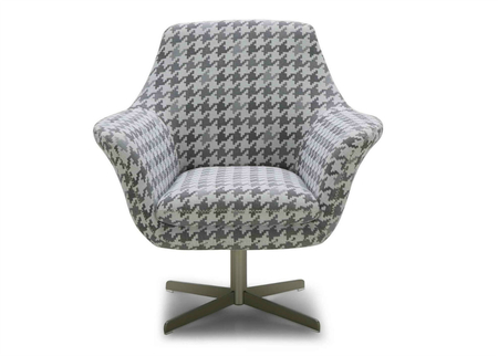 Tartan Lounge Chair In Fabric With Swivel Function