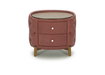 Budoir Nightstands Upholsterered In Wine Red Leather