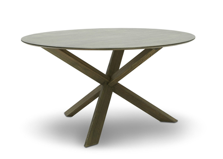 Round Dining Table in Wood & Glass