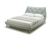 Bed With Light Blue Leather Upholstery