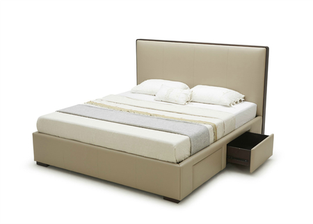 Bed In Light Brown Leather With Storage