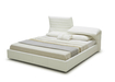 Stylish Bed In White Leather With Adjustable Headboard