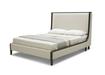 Queen Bed In Beige Fabric & Wooden Frame