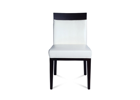 Dining Chair In White Leather & Dark Wood