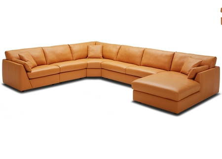 Group Sofa With Chaise In Rich Tan Leather