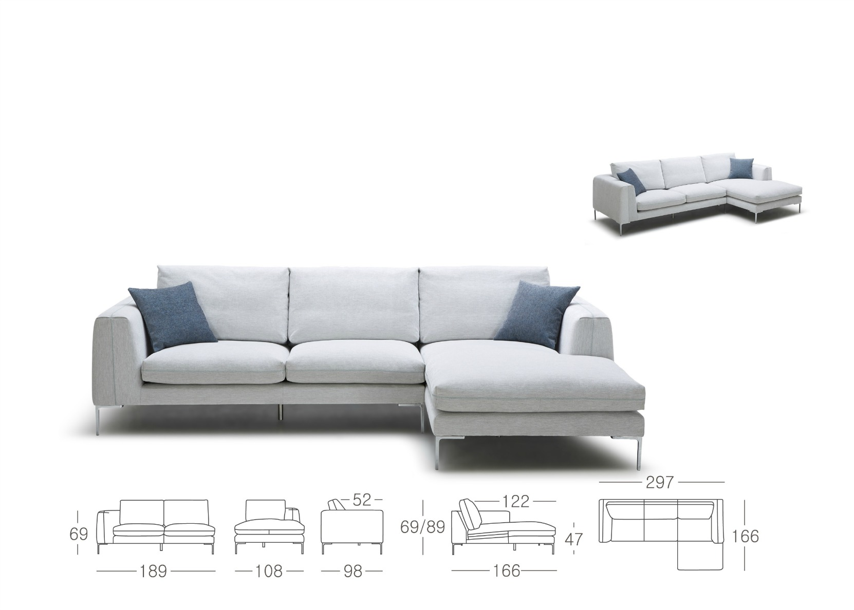 Modern Sectional Sofa In Fabric Not Just Brown