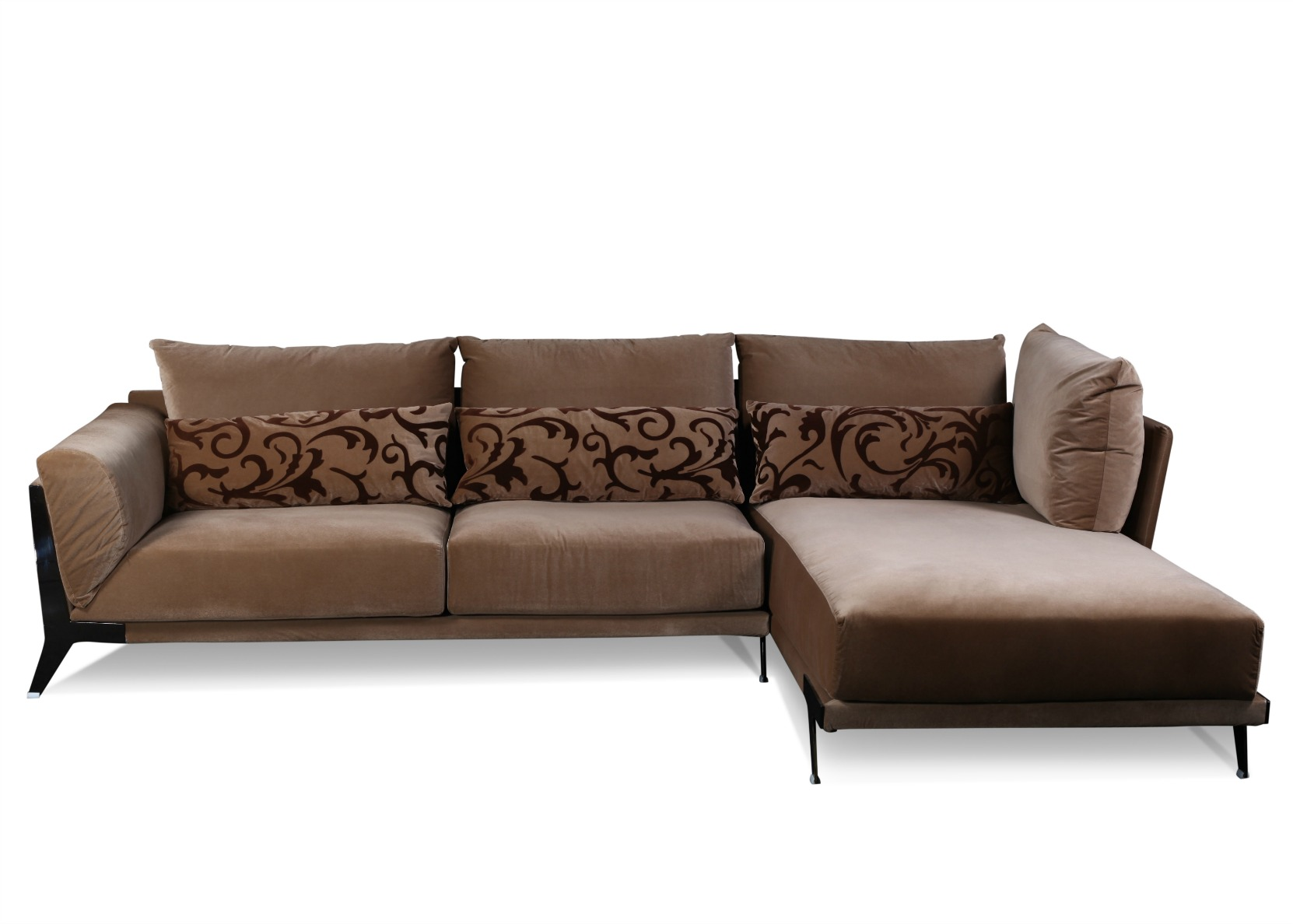 Modern Sectional Sofa In Rich Brown Fabric Not Just Brown